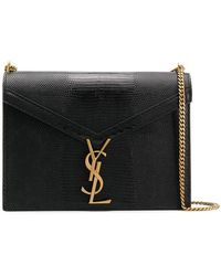 7a9002e73f9c Saint Laurent Cassandra Monogram Leather Cross Body Bag in Black - Lyst