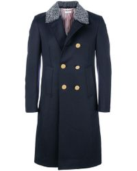 Thom Browne - Fur Top Pintuck Cavalry Twill Chesterfield Overcoat - Lyst