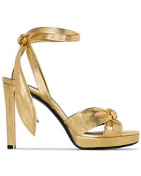 22de7bc9860 Lyst - Saint Laurent Strappy Platform Sandals in Brown