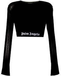 Palm Angels - Cropped Logo Waistband Top - Lyst