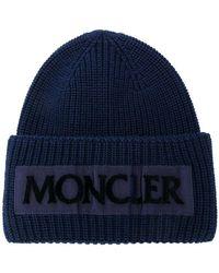 Moncler - Navy Logo-appliquéd Wool Beanie - Lyst