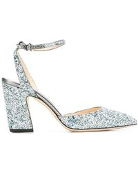 baf1257e868 Lyst - Jimmy Choo Micky 85 Leather And Glitter Sandals in Pink