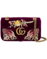 e65ba40d9d84 Gucci GG Marmont Embroidered Mini Bag in Pink - Lyst