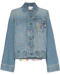 Mira Mikati - Oversized Tasselled Cotton Blend Denim Jacket - Lyst
