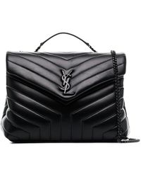 Saint Laurent - Black Loulou Leather Quilted Shoulder Bag - Lyst