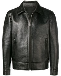 Ferragamo - Zipped Leather Jacket - Lyst