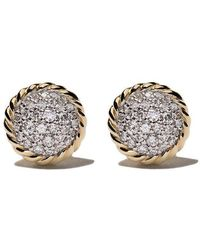 David Yurman - 18kt Yellow Gold Petite Pavé Diamond Stud Earrings - Lyst