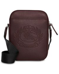 Burberry - Small Embossed Crest Leather Crossbody Bag - Lyst