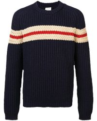 Saint Laurent - Chunky Knit Striped Sweater - Lyst
