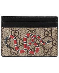 e12ae9a8080a Gucci Kingsnake Print GG Supreme Wallet for Men - Save 21% - Lyst