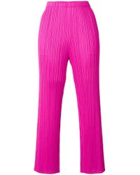Pleats Please Issey Miyake - Pleated Cropped Trousers - Lyst