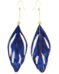Aurelie Bidermann - Swan Feather Earrings - Lyst
