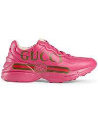 Gucci - Rhyton Logo Leather Trainer - Lyst