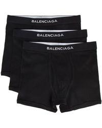 Balenciaga Lot de Trois Caleçons à Logo
