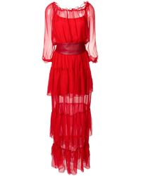 FEDERICA TOSI - Belted Sheer Long Dress - Lyst