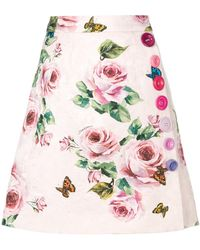 Dolce & Gabbana - Brocade Rose Printed Skirt - Lyst