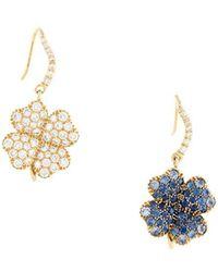 Aurelie Bidermann   'clover' Diamond And Blue Sapphire Earrings   Lyst