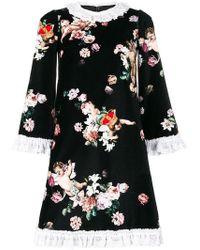 Dolce & Gabbana - Floral Velvet Minidress - Lyst