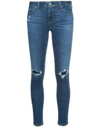 AG Jeans - Distressed Skinny Jeans - Lyst
