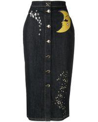 Boutique Moschino - Denim Button Skirt - Lyst