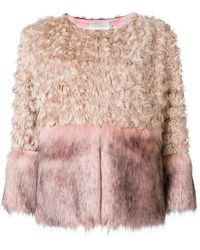 L'Autre Chose - Faux Fur Panelled Jacket - Lyst
