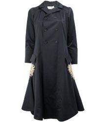 Wales Bonner Flared Embroidered Coat - Black