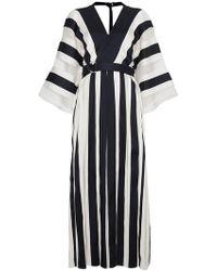 Adam Lippes - Silk Striped Kimono Dress - Lyst