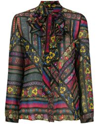 Etro - Ruffled Neck Floral Blouse - Lyst