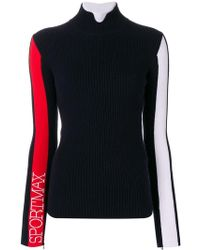 Sportmax - Turtleneck Logo Sleeve Sweater - Lyst