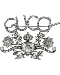 Gucci - Guccy Crystal Brooch - Lyst