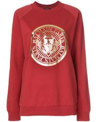 Balmain - Medallion Logo Printed Sweatshirt - Lyst