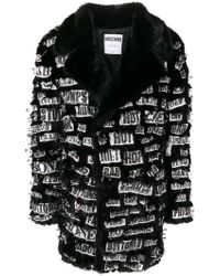 Moschino - Print Patch Safety Pin Coat - Lyst