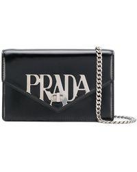 Prada - Logo Plaque Shoulder Bag - Lyst