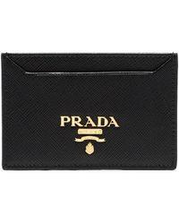 Prada - Black Logo Saffiano Leather Card Holder - Lyst