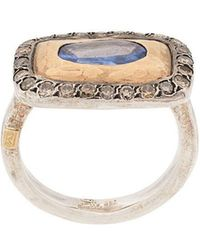 Rosa Maria - 18kt Yellow Gold, Silver And Diamond Lotta Cocktail Ring - Lyst