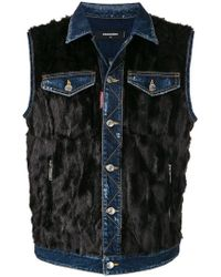 DSquared² - Sleeveless Denim Fur Vest - Lyst