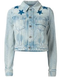Givenchy - Star Print Bleached Denim Jacket - Lyst