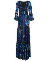 Marchesa notte - Metallic Floral Pattern Dress - Lyst