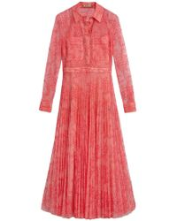 Burberry - Pleated Lace Dress - Lyst