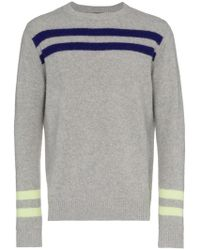 The Elder Statesman - Grey Cashmere Heavy Space Stripe Sweater - Lyst