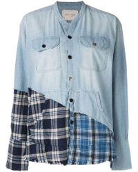 Greg Lauren - Contrast Panel Denim Shirt - Lyst