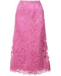 Marchesa - Blush Corded Tea Length Lace A-line Skirt - Lyst