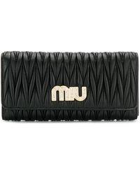 Miu Miu ロゴ 長財布 - ブラック