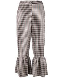 Erika Cavallini Semi Couture - Checked Flared Trousers - Lyst