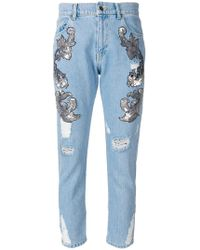 Marco Bologna - Distressed And Embellished Cropped Jeans - Lyst