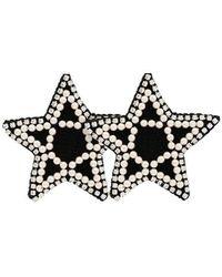 Venessa Arizaga - Black Crystal And Pearl Embellished Star Earrings - Lyst