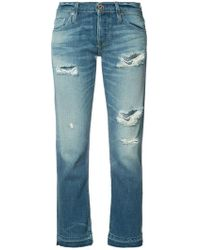 NSF - Ripped Cropped Jeans - Lyst
