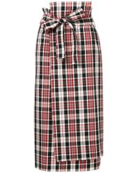 Astraet - Plaid Print Midi Skirt - Lyst