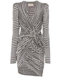 Alexandre Vauthier - V-neck Houndstooth Print Silk Blend Mini Dress - Lyst