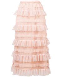 RED Valentino - Ruffled Tiered Skirt - Lyst